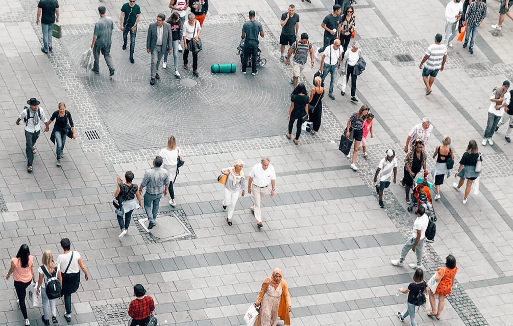 Pedestrians on Footpath