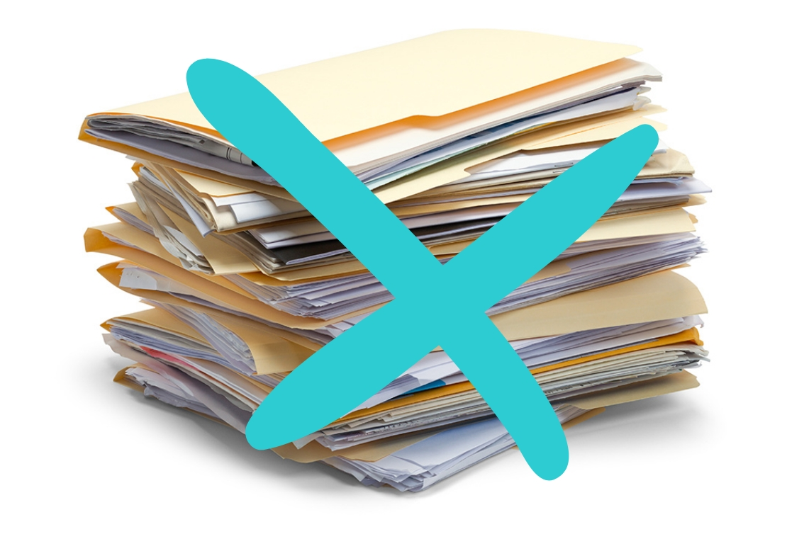 pile of documents with a blue cross on top