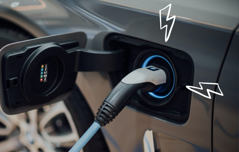Electric car plugged in to charge